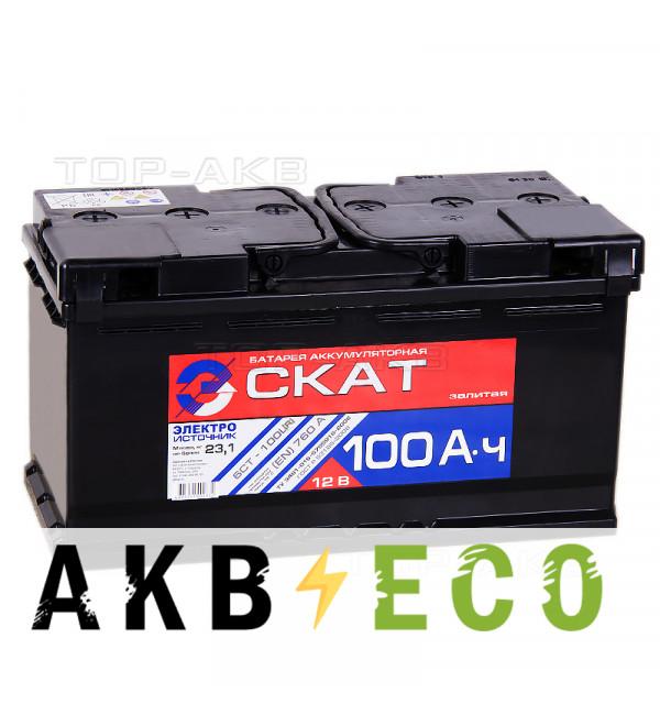 Автомобильный аккумулятор Скат 100R 760А (353x175x190)