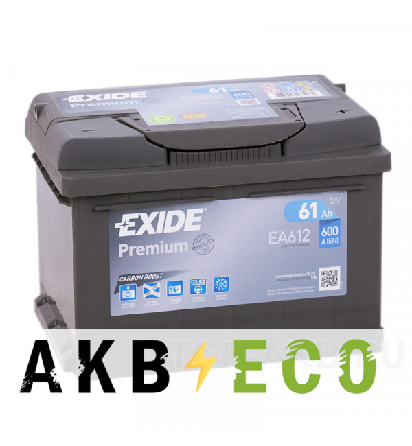 Автомобильный аккумулятор Exide Premium 61R (600А 242х175х175) EA612