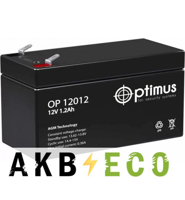 Автомобильный аккумулятор OPTIMUS 12V 1.2Ач (OP 12012) 97x44x59