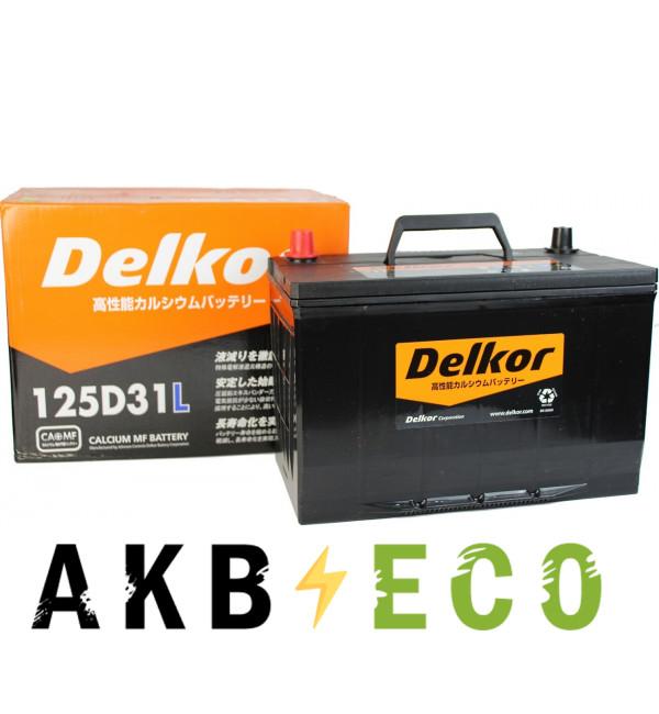 Автомобильный аккумулятор Delkor 125D31L (105R 900A 306x173x225)