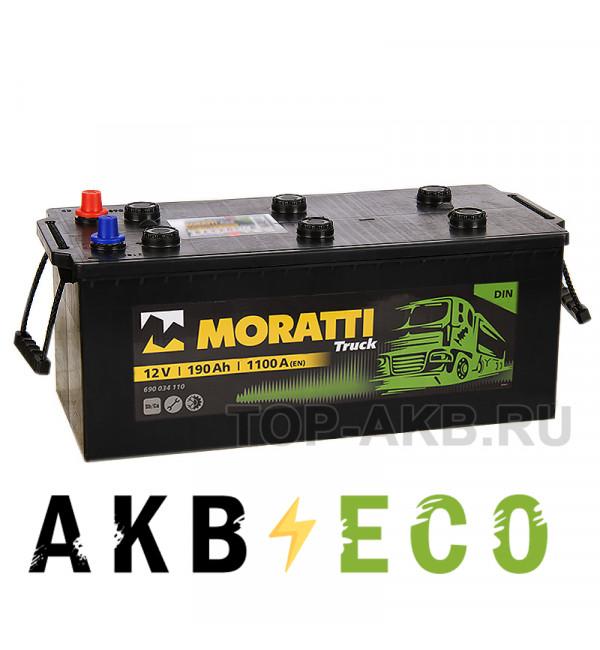 Автомобильный аккумулятор Moratti 190 евро 1100А 518x228x238