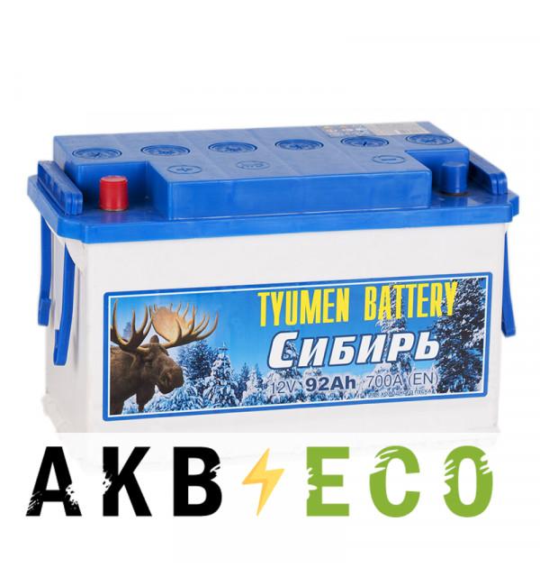 Автомобильный аккумулятор Tyumen Battery Сибирь 92 Ач прям. пол. 700A (345x175x213)