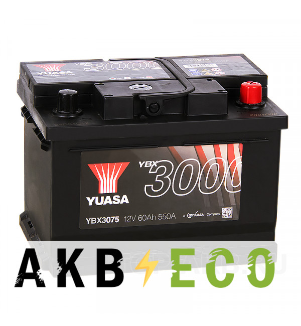 Автомобильный аккумулятор YUASA YBX3000 60R низкий (550А 242x175x175) YBX3075