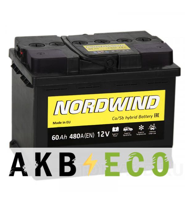Автомобильный аккумулятор Nordwind 60L 480А 242x175x190