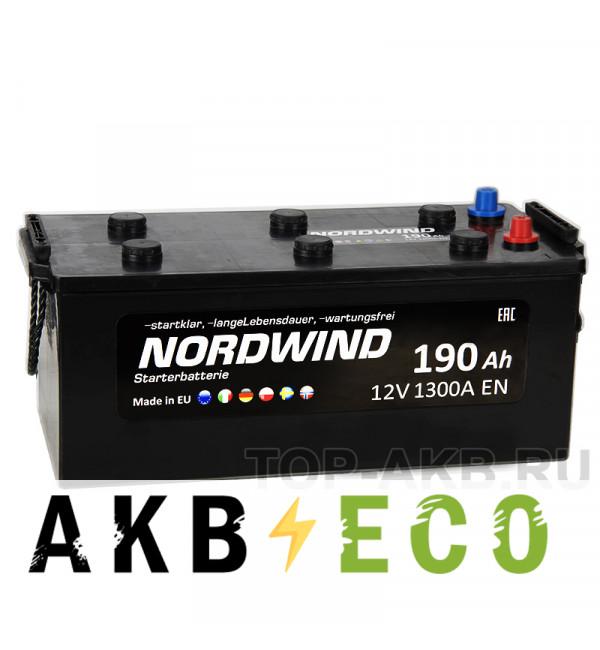 Автомобильный аккумулятор Nordwind 190 евро 1300А 513x223x223