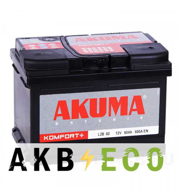 Автомобильный аккумулятор Akuma Vortek 60R низкий 600A (242x175x175)