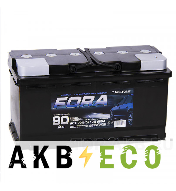 Автомобильный аккумулятор FORA 90R 680А 353x175x190