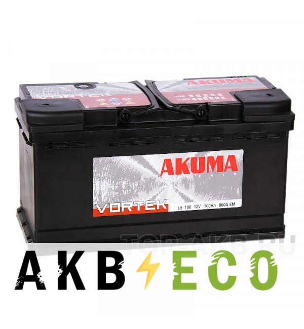 Автомобильный аккумулятор Akuma Vortek 100R 800A (353x175x190)