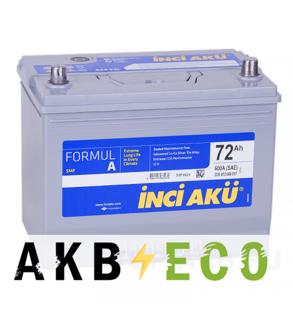 Автомобильный аккумулятор INCI AKU ASIA 72R 600A 260x173x225