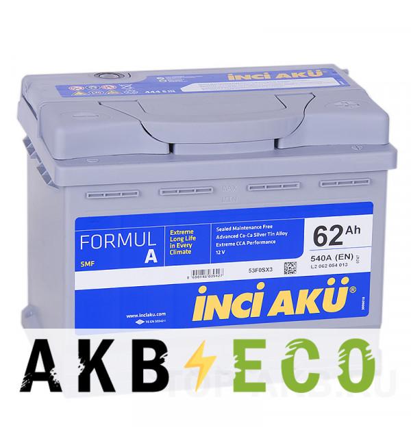 Автомобильный аккумулятор INCI AKU 62R 540A 242x175x190