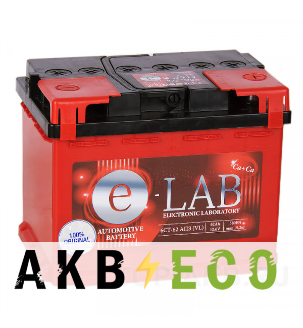 Автомобильный аккумулятор E-LAB 62R 580A (242x175x190)