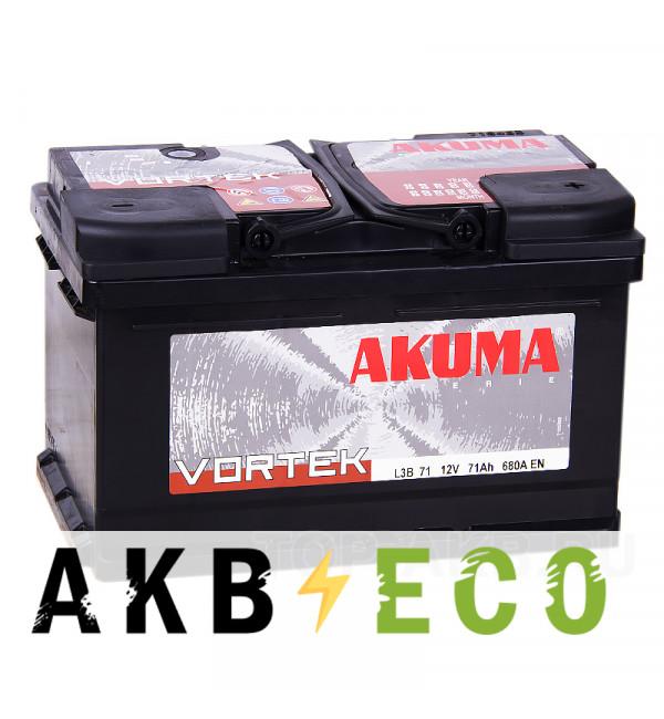 Автомобильный аккумулятор Akuma Vortek 71R низкий 680A (278x175x175)