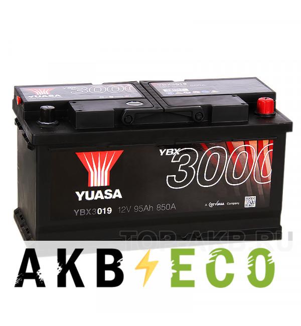 Автомобильный аккумулятор YUASA YBX3000 95R (850А 353x175x190) YBX3019