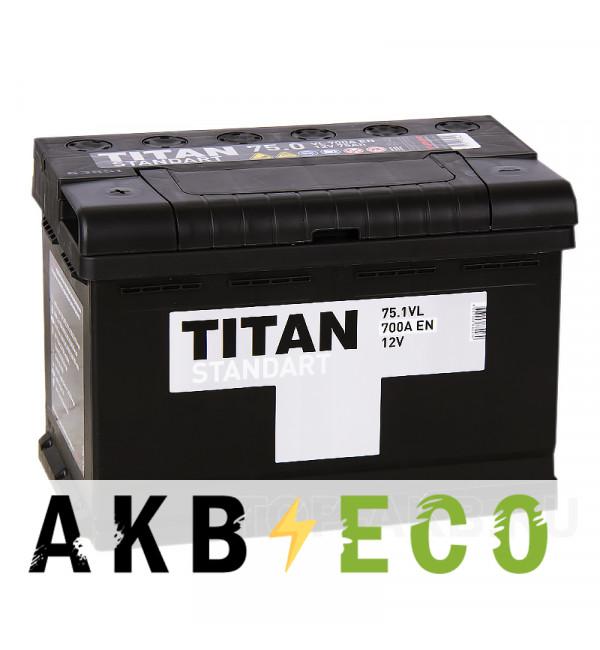 Автомобильный аккумулятор Titan Standart 75L 700A 278x175x190