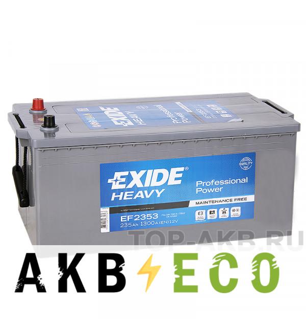 Автомобильный аккумулятор Exide Heavy Professional 235 А·ч евро 1300А (518x276x242) EF2353