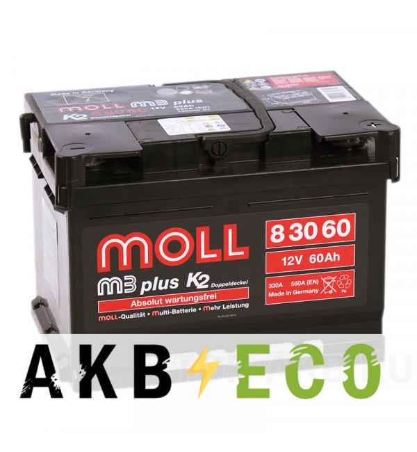 Автомобильный аккумулятор Moll M3plus 60R 550A 242x175x175