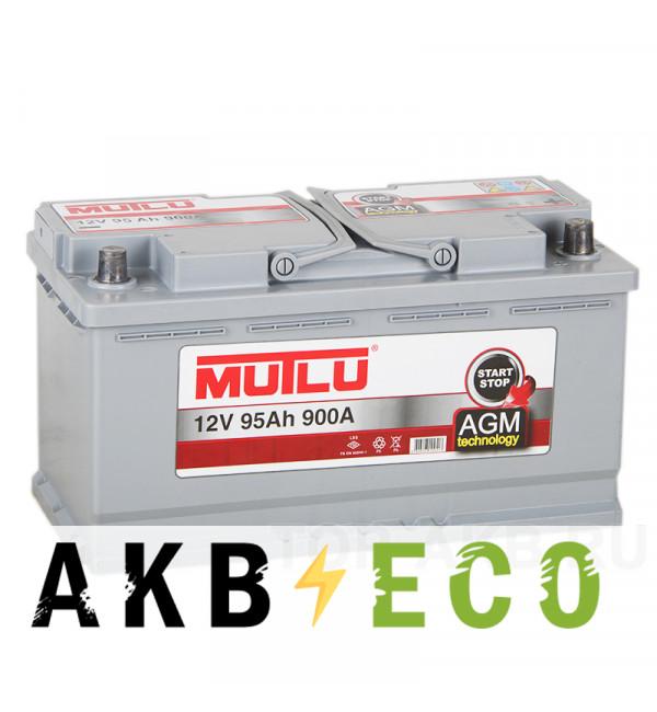 Автомобильный аккумулятор Mutlu Mega AGM Start-Stop 95R 900A 353x175x190