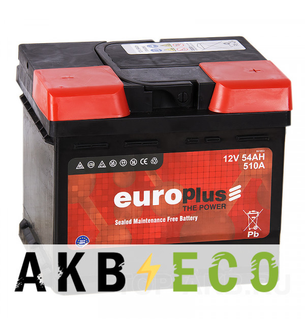 Автомобильный аккумулятор Europlus 54R низкий (510A 207x175x175)