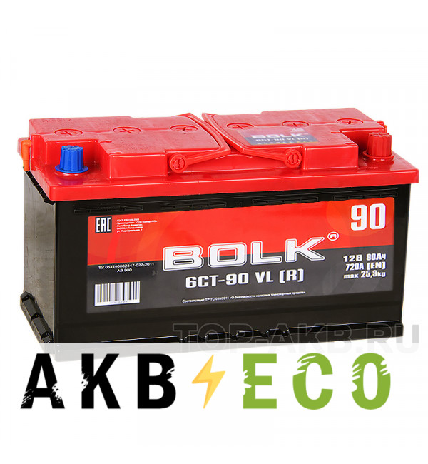 Автомобильный аккумулятор BOLK 90R 720A 353x175x190 AB900