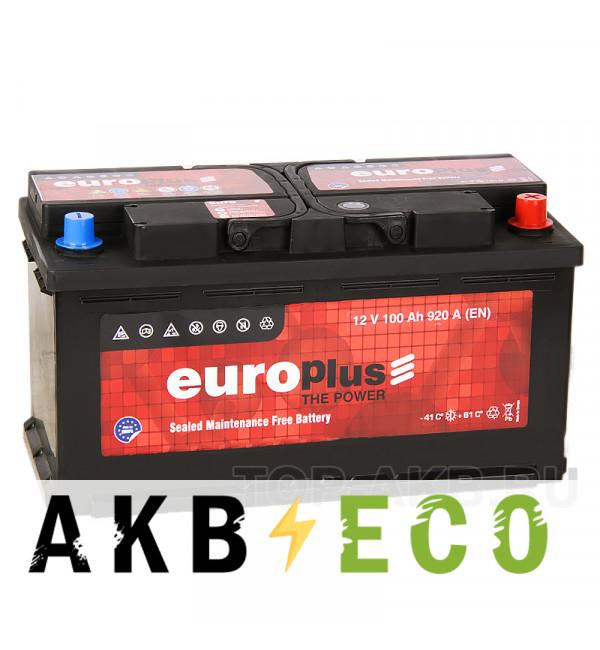 Автомобильный аккумулятор Europlus 100R (920A 353x175x190)