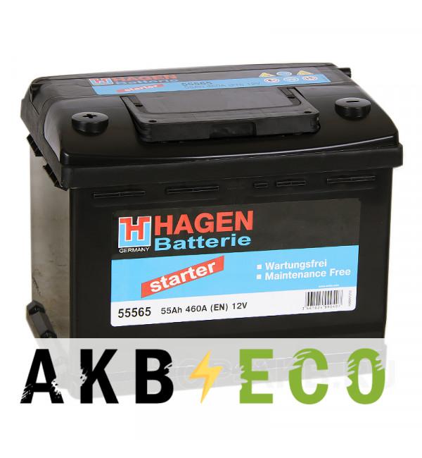 Автомобильный аккумулятор Hagen 55565 55L 460A 242x175x190