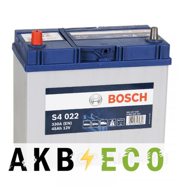 Автомобильный аккумулятор Bosch S4 022 45L 330A 238x127x227 уз. кл.