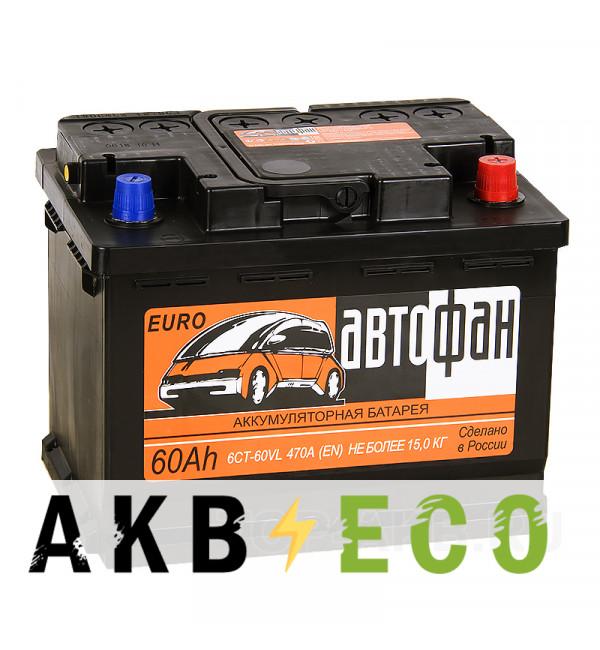 Автомобильный аккумулятор Автофан 60R 470A 242x175x190