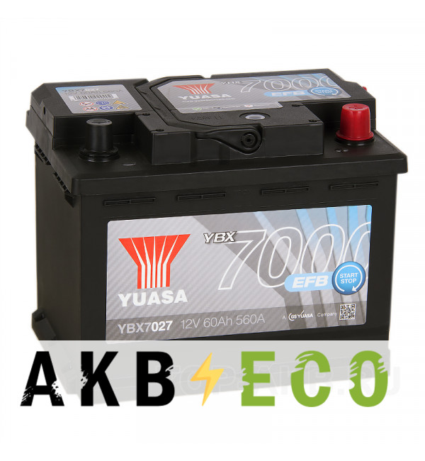 Автомобильный аккумулятор YUASA EFB 60R (560А 242x175x190) Start-Stop, YBX7027