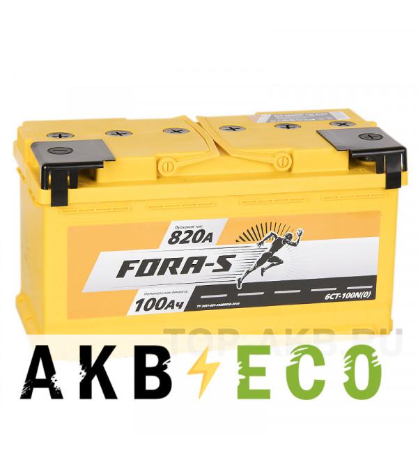Автомобильный аккумулятор FORA-S 100R 820A 353x175x190