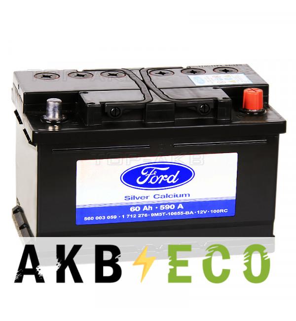 Автомобильный аккумулятор Ford Standart 60 Ач обратная пол. 590А (278x175x175) 1 712 276