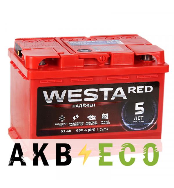 Автомобильный аккумулятор Westa 63R низкий 650A 242x175x190
