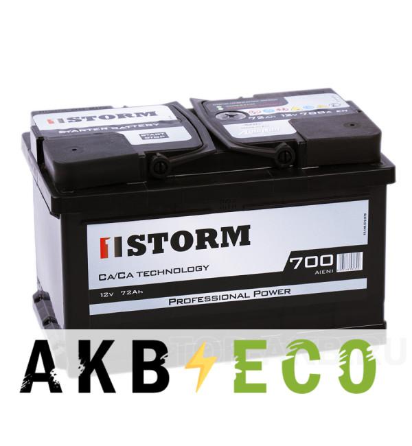 Автомобильный аккумулятор Storm Professional Power 72R низкий 700A 278x175x175