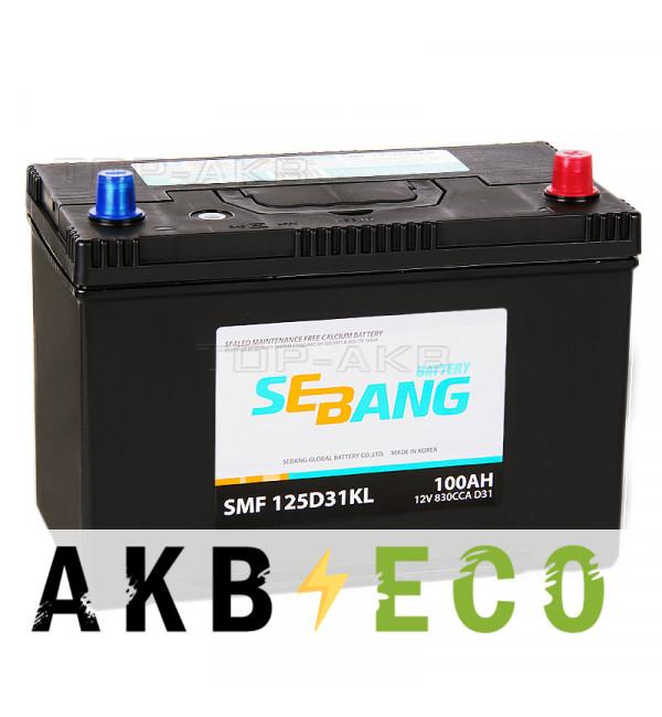 Автомобильный аккумулятор Sebang 125D31KL 100 Ач обратная пол. 830А (306x173x225)