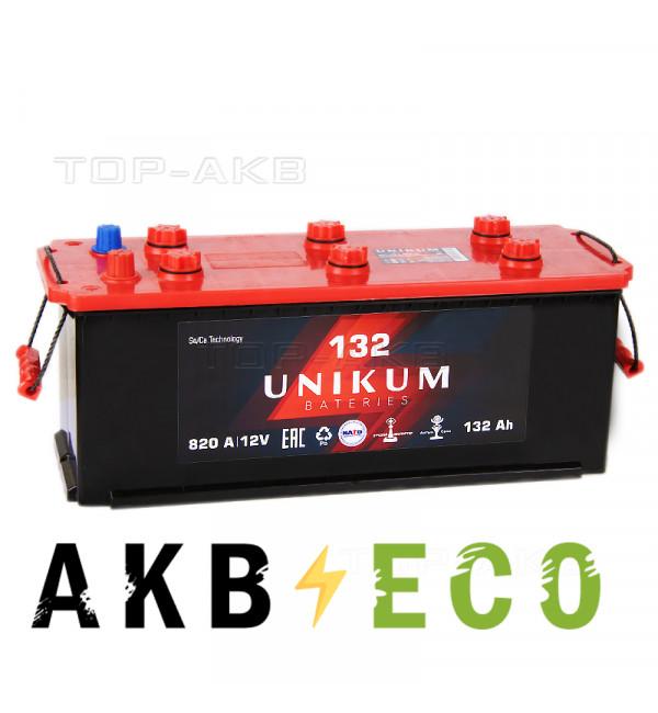 Автомобильный аккумулятор UNIKUM 132 рус 820A (513x189x223)