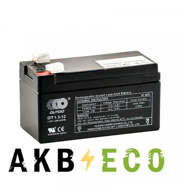 Автомобильный аккумулятор OUTDO VRLA 12V 1.3 Ah (OT1.3-12) 97х45х53