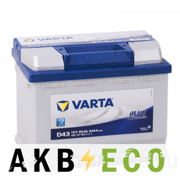 Автомобильный аккумулятор Varta Blue Dynamic D43 60L 540A 242x175x190 (560127054)