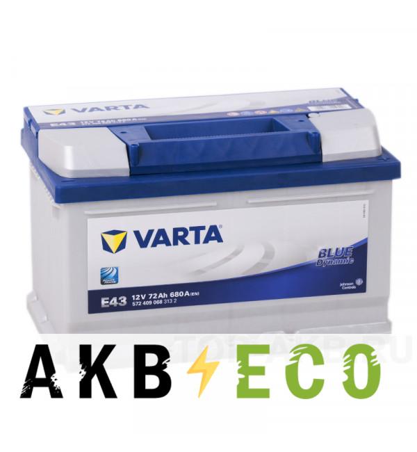 Автомобильный аккумулятор Varta Blue Dynamic E43 72R 680A 278x175x175