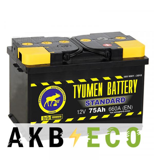 Автомобильный аккумулятор Tyumen Battery Standard 75 Ач обр. пол. 660A (278x175x190)