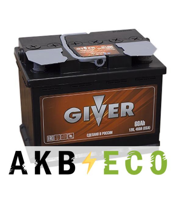 Автомобильный аккумулятор Giver 60L (450A 242x175x190)