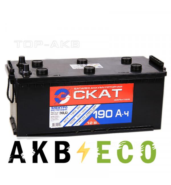 Автомобильный аккумулятор Скат 190 евро 1200А (524x239x240)