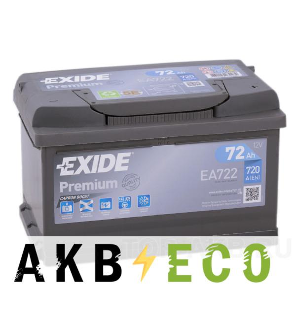 Автомобильный аккумулятор Exide Premium 72R (720А 278х175х175) EA722