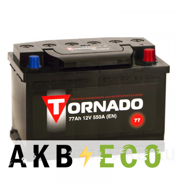 Автомобильный аккумулятор Tornado 77R 550A 278x175x190