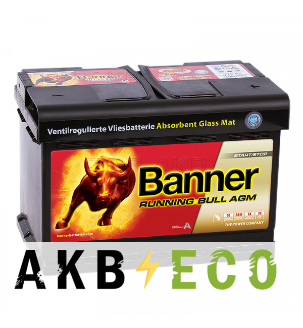 Автомобильный аккумулятор BANNER Running Bull AGM Start-Stop (570 01) 70R 720A 278x175x190