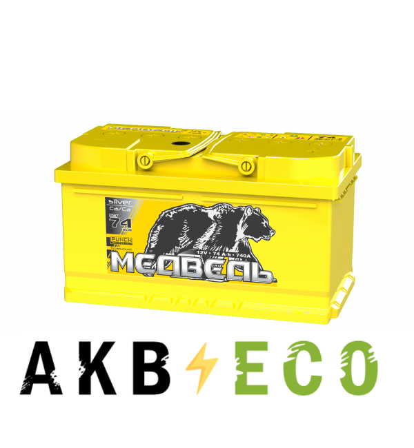Автомобильный аккумулятор Тюменский медведь Сa/Сa 74 Ач обр. пол. 740A низкий (278x175x175) Silver