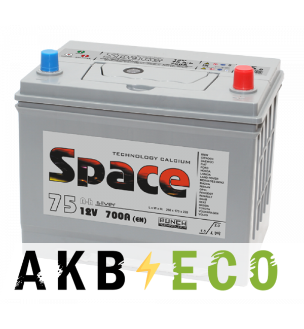 Автомобильный аккумулятор Space Asia 90D26L (75R 700A 261x173x225)