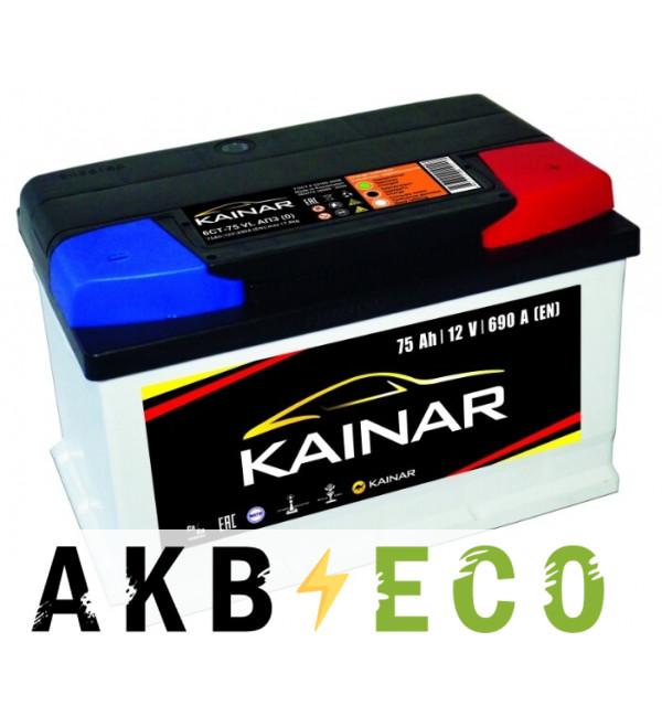 Автомобильный аккумулятор KAINAR 75 Ач обр. пол. 690А (278x175x175) низкий