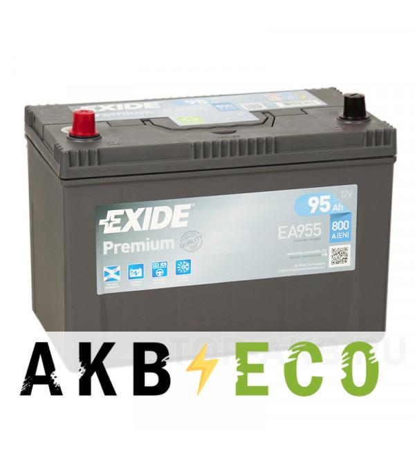 Автомобильный аккумулятор Exide Premium 95L (800А 306х173х225) EA955
