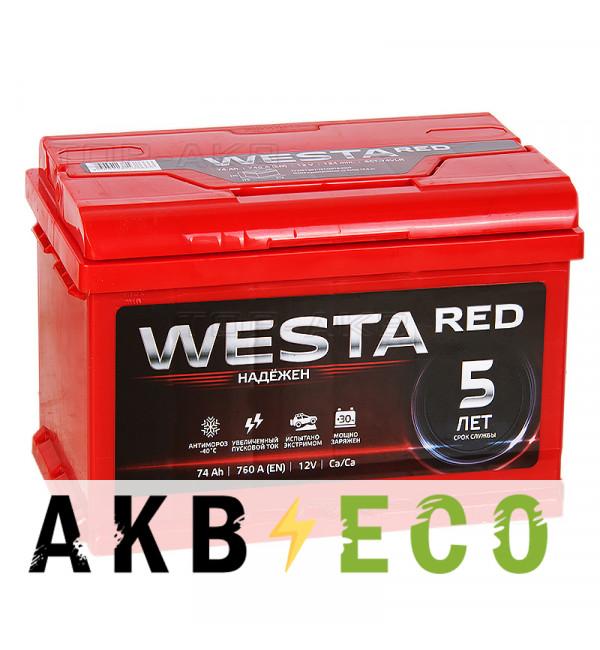 Автомобильный аккумулятор Westa 74L 760A 278x175x190