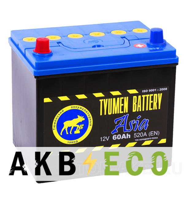 Автомобильный аккумулятор Tyumen Battery Asia 60 Ач прям. пол. 520A (232x173x225)