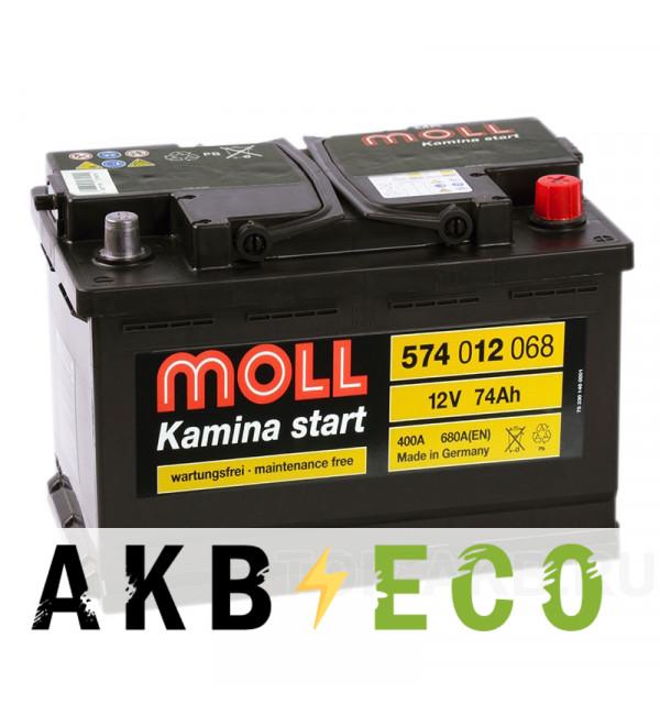 Автомобильный аккумулятор Moll Kamina Start 74R 680A (278x175x190)